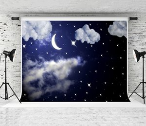 Dream 7x5ft Night Sky Backdrop White Cloud Stars and Moon Photography Background Children Baby Theme Birthday Backdrops Newborn Party Shoot