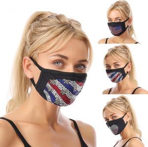 Masken-amerikanische Flagge Gesichtsmaske Bling Strass Guaze Masken Diamant USA Flaggen Mundschutz Staubdicht Waschbar Wiederverwendbare Mund-Maske LSK559