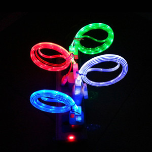 1m Led USB Cable TPE Flash Light Up Data Line Mobile Phone Charger Glowing Android Micro USB Cable Type c Cable