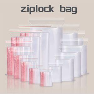 1set = 100шт 2mil Clear Plastic Многократно закрывающаяся Zip Poly Сумки с Resealable Лок Seal Zipper