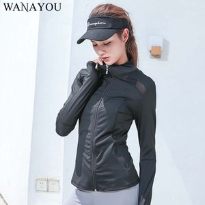 WANAYOU Mesh Patchwork Yoga Shirts,Black Breathable Full Sleeve Fitness Yoga Top,Anti-Wrinkle Quik Dry Sports Jacket Women
