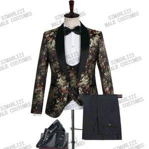 2020 жаккардовый цветок черный костюм Slim Fit Double Breasted Vest Формальные Пром платье Мужской костюм Мужской костюм жениха смокинги для свадьбы