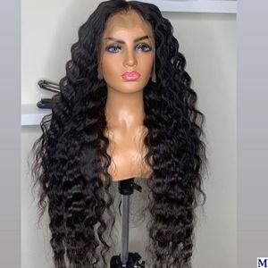 26 inç 180 Yoğunluk Derin Dalga Tutkalsız Tam Dantel İnsan Saç Peruk Hint Öncesi Klumped Siyah Kadınlar için 360 Frontal Peruk