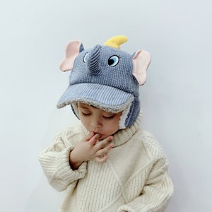 Children's boys and girls corduroy thickened ear protection baseball baseball cap hatWick hat cap cartoon elephant winter hat tide