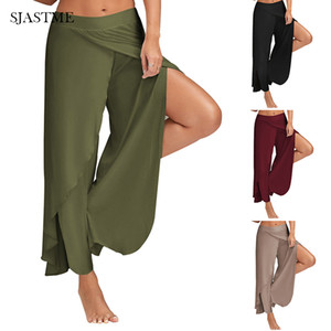 SJASTME Womens cotone modale morbido Sportes danza pantaloni casual pantaloni gamba larga Split Solid pantaloni lunghi allentati casuali Flowy