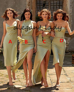 Sage Green Beach Bridesmaid Dresses 2021 Mixed Style Sexy Slit Summer Holiday Junior Maid of Honor Wedding Party Guest Gown Cheap
