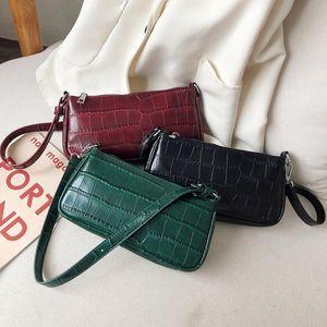 Stone pattern Leather Shoulder Bag Vintage Bags For Women 2019 New Mini luxury handbags women bags designer Retro