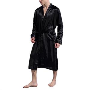 Elbise Giyinme Erkekler İpek Saten Bornoz Robe Uzun Katı İpek Pijama Erkekler Gecelik Pijama kimono homme