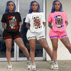 Women Tracksuit Letter Cartoon Printed Designer Short Sleeve Crew Neck Tees Top Tshirt Shorts Two pieces Sets Outfit Casual Sportswear D7611