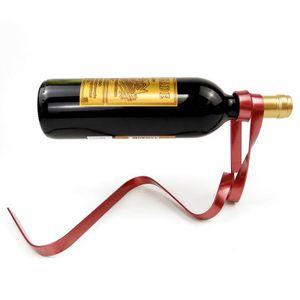 Sıcak satış yaratıcı renkli kurdele şarap asma şarap rafı yerçekimi denge şişe braket yenilik hediye seti stokta 6 renk standı