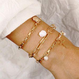 New Vintage Gold Silver Shell Faux Pearl Cross Pendant Fashion Bracelets For Women Boho Multiple Layers Bracelet Set Jewelry