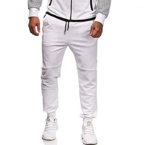 Men's Slim Casual Pants Stripes Stitching Color Matching Personality Sports Trousers Men Full Length Trackpants Large Size1