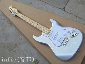 Free shipping New St Stratocaster 6 string silver Electric Guitar in stock, noise reduction pickup in USA