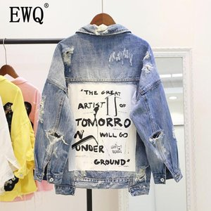 [EWQ] 2020 Spring Autumn New Product Patch Turn-down Collar Vintage Hole Loose Coat Ladies Clothing Women Denim Jacket Top QH194