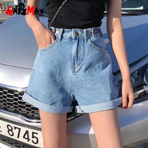 Garemay Women's Denim Shorts Classic Vintage High Waist Blue Wide Leg Female Caual Summer Ladies Shorts Jeans For Women CX200713