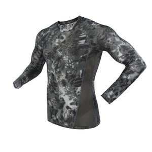 2019 En Yeni Erkek Taktik İç Dış Kamuflaj Elastik Hızlı Kurutma Sportwear Uzun Kollu Gömlek Spor Suit
