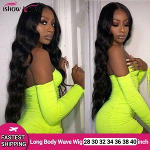 28 30 32 34 36 38 40 polegadas longo cabelo humano Perucas Yaki linha reta Kinky Curly Água solto profunda da onda do corpo humano rendas frente Wigs