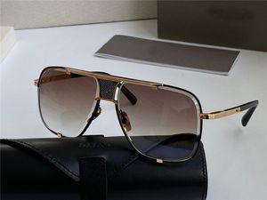 Frauen Mann-Platz Sonnenbrille Schwarz / Gold Rand Gold verspiegelten Gläsern ART UND WEISE Sonnenbrille mit original Gehäuse NUMD200714-3C