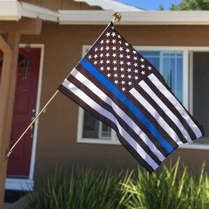 90cmx150cm USA Sottile Linea Blu Flag Law Enforcement ufficiale americano nero di polizia Bianco e bandiera blu con Brass Grommet LJJP115