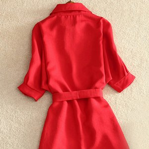 Long Shirt Blouse 2019 Summer Casual Dress Solid Red Chiffon Tops For Women Ladies Tunic Blusas Chemisier Vestidos Femme Y200622
