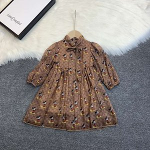 baby girl brown party dress fashion outfits 110-160 cm designer little girls toddlers cheap kid clothe set cotton material kid cheap clothes