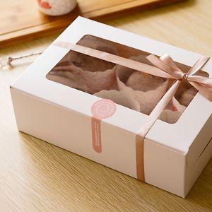 20pcs / lot-24 * 16 * 7,5 cm Weiß Kraftpapier 6 Kuchen Boxen DIY Partei Backen Geschenk-Box Cookies Snack Pralinenschachtel Verpackungskästen