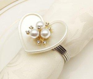Forma Perla Anelli di tovagliolo di cuore con i supporti imitazione di diamante di lusso in Wedding Dinner Party Decoration Napkin