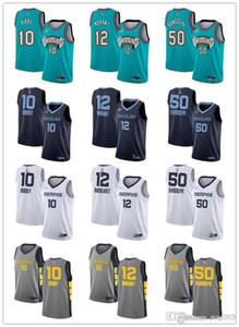 Frauen der Männer JugendMemphisGrizzlies12 JaMorant 50 Zach Randolph 10 Mike Bibby Grün Weiß Blau Custom Basketball Jerseys