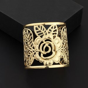 Fashion New Gold Color Bracelets&Bangles Hollow Out Flower Women Lady's Bangle Jewelry Gifts