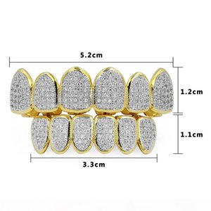 R Gold Silver Plated Hip Hop Teeth Grill All Iced Out Cz Stone Micro Paved Men Women &#039 ;S Vampire Top Bottom Zircon Rhinestone Gril