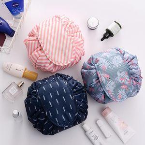 Ленивый макияж сумка Большой косметический мешок Flamingo водонепроницаемый путешествия Washbag Переносные сумки Drawstring туалетных Организатор путешествий Хранение DHC421