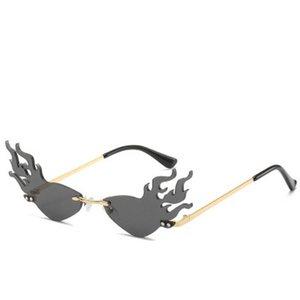 Firewave Güneş Yeni 2019 Moda Yangın Alev Güneş Kadınlar Erkekler Rimless Dalga Güneş Gözlük Gözlük Lüks Eğilimleri mycutebaby007 e daraltın