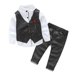 Kids Blazers Baby Boys Suits 2019 Summer Single Breasted Shirts Vest Pants 3Pcs Set Boys Formal Wedding Wear Children Clothing S200113