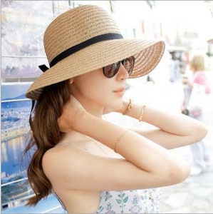 choking little pepper Butterfly straw ladies summer bowknot straw hat sunscreen beach sun hat