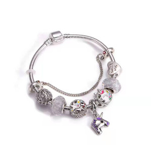 16-21CM New Christmas bracelets unicon charms European style xmas party bracelets charm beads unicons pendant bangle DIY Jewelry as gift