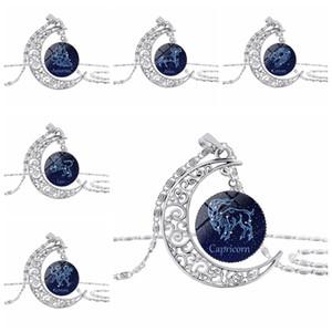 12 Sinal do zodíaco pingente de vidro Dome Crescent Colar Lua Cabochon Constellation Horóscopo Astrologia Áries Gêmeos Câncer Leão do presente de aniversário Ne