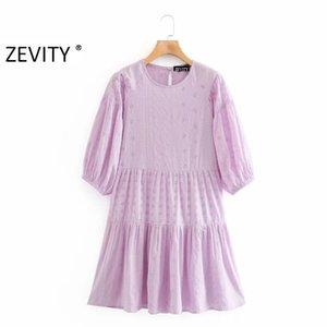 Zevity kadın zarif o boyun içi boş dışarı nakış patchwork PLİSE şık kadın fener kol vestidos parti elbiseler DS4160 elbise