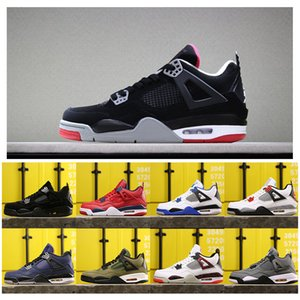 Basketball inJordanRetro 4 Mens Shoes Hot Lava Bred GS Grey Gym Red Tattoo White Cement Jack TS Motor Pure Oreo 4s Sports Sneakers