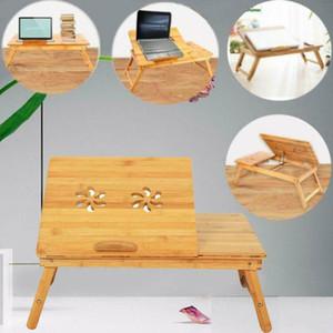 Прочный портативный складной бамбука ноутбука стол стол кровать поднос ж / Выдвижной ящик
