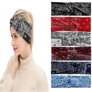 Women Girls Bohemia Bows Headbands Flower Printed Hair Bands Twisted Cross Elastic Sport Yoga Head Wrap Hair Accessories