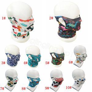 Дети висячих ухи пыль маски Бесшовных ребенка ветрозащитного Бандан шея Волшебного шарф многоразового Спорт мультфильм печатных животных маски для лица CYF4297