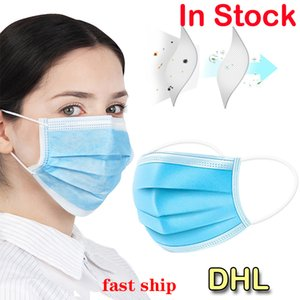 In Stock DHL Protective Masks Disposable 3 Layers Dust-proof Mask Facial Anti-fog Prevent Protective Cover Masks