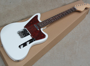 La fábrica Wholesale guitarra eléctrica blanca con la subasta del cabezal, 21 trastes, diapasón de palisandro, se puede personalizar como reques