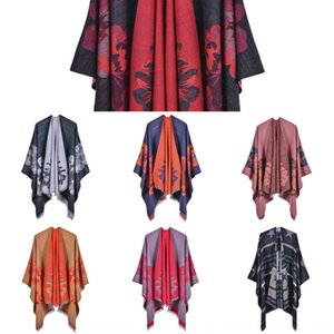 Women's double-sided loose beard fashionable Warm Jacquard shawl Jacquard Split thickened warm split shawl Cape