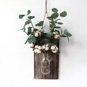 Mason Jar con algodón y Eucalyptus decoración de madera gris de la vida moderna salones y dormitorios inspirador rústico retro del arte de la pared de la decoración