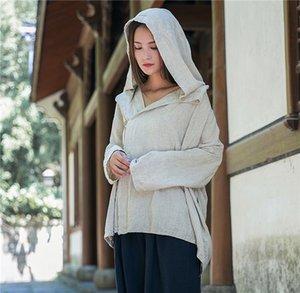 Petit automne chaud et le design d'hiver manteau artistique en lin à capuchon lâche haut nationalité haut des femmes de style ethnique de la nationalité Coat