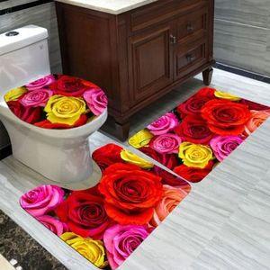 bathroom non-slip three-piece two-piece set flannel floor mat memory sponge carpet floor Mat carpet set