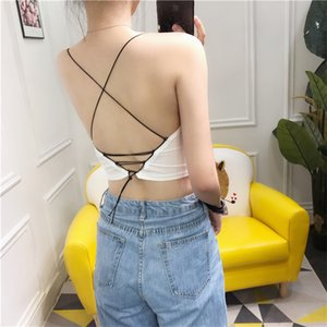 Girls Sexy Slim Backless Camis Tops With Seperated Pads Women Crossed Straps Padding Tanks Crop Tops For Girls