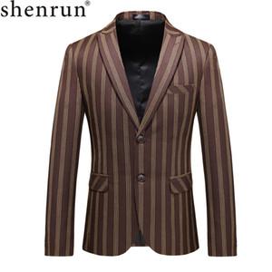 Shenrun 남성 캐주얼 재킷 비즈니스 워크 파티 댄스 파티 연회 봄 가을 스트라이프 정장 자켓 생활 싱글 브레스트 2 버튼