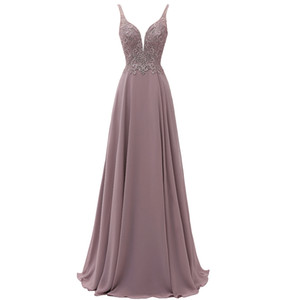 Chiffon Long Prom Dresses Deep V Neck Lace Floral Pattern Women Formal Evening Maxi Dress Spaghetti Strap Low Back Special Occasion Dress